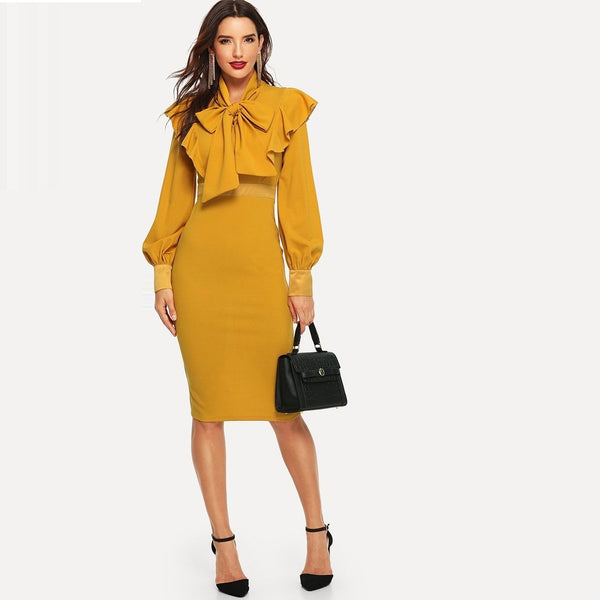 Yellow Tie Neck  Pencil Dress