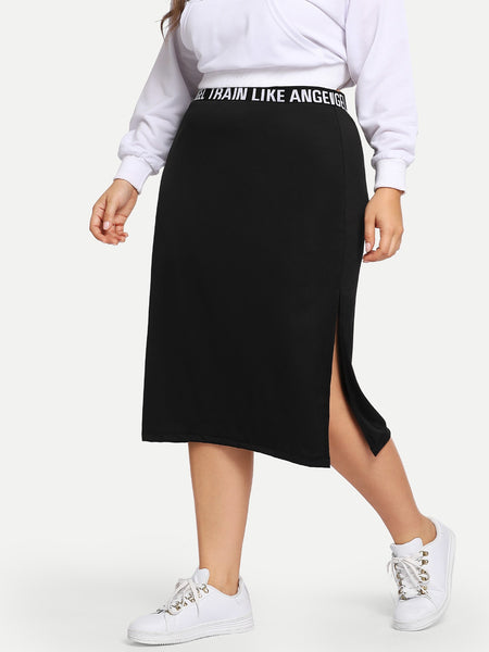Black Plus Size Sporty Slit Knit Midi Skirt