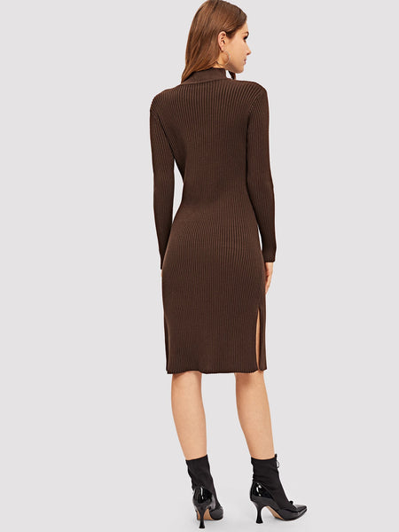 Brown Slit Side Solid Fitted Knit Dress