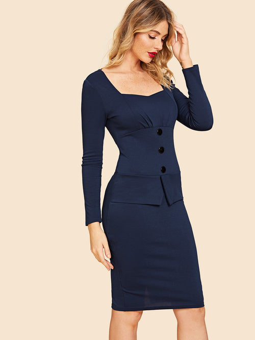 Navy Split Back Square-neck Pencil  Dress