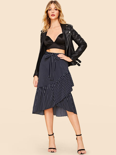 Navy Asymmetrical Striped Belted A-Line Skirt