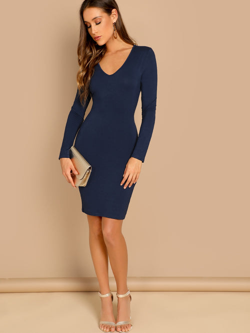 Navy Plunging Neck Slim Fitted Dress