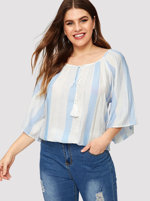 White Plus Size Vertical Striped High Blouse