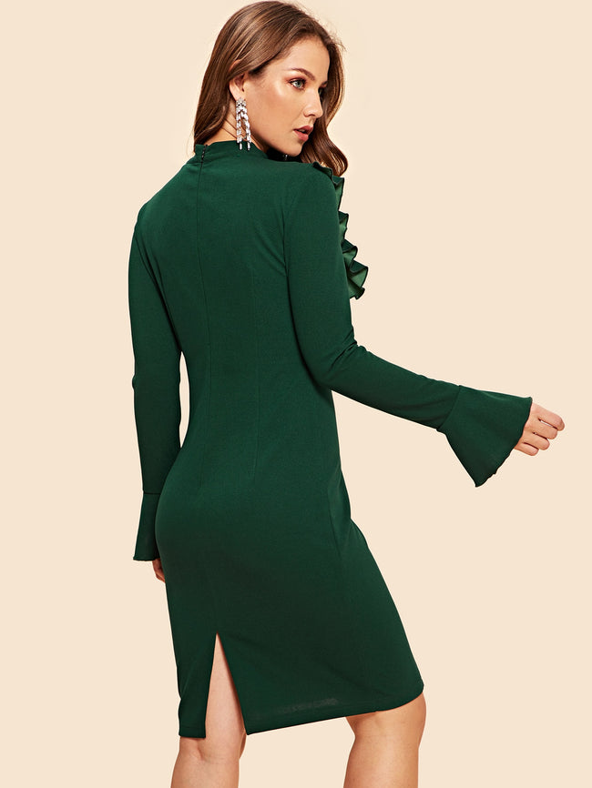 Green Tie Neck Ruffle Trim Bell Sleeve Pencil Dress