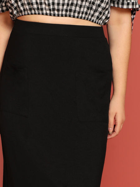 Black Plus Size Pocket Patched Solid Midi Skirt