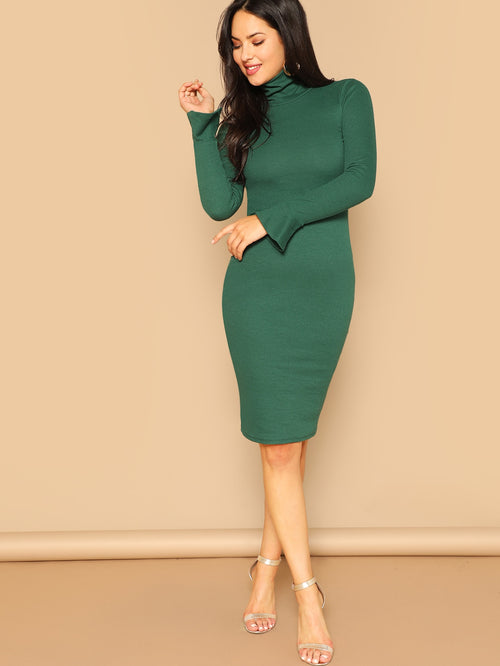 Green  Form Fitting Flounce Sleeve Dress