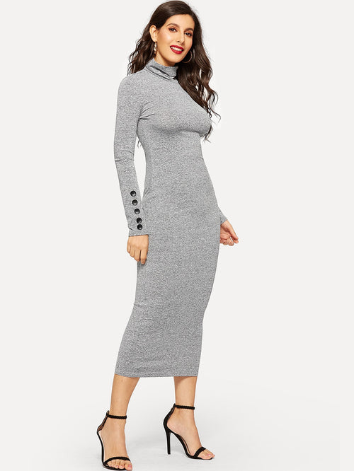 Grey High Neck Buttoned Pencil Dress