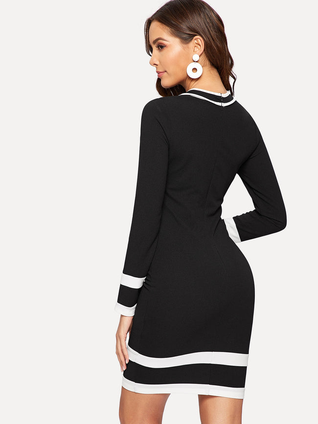 Black Slim Fitted Striped Tie Neck Bodycon Dress