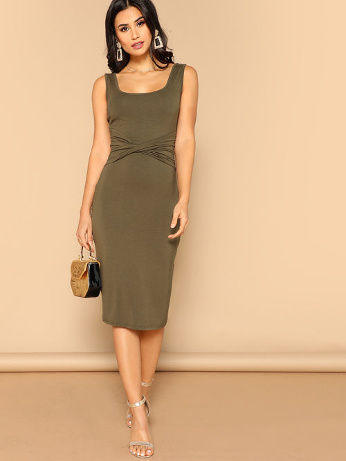 Army Green Twist Front Square Neck Solid Bodycon Dress
