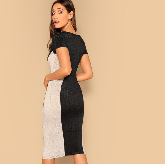 Black Patchwork  Bodycon Dress