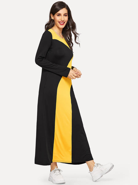 Black & Yellow Sport Longline Dress