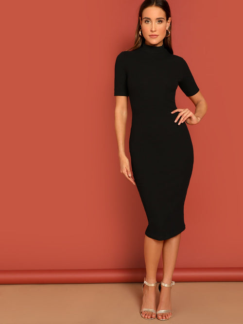 Black High Neck Rib Bodycon Dress