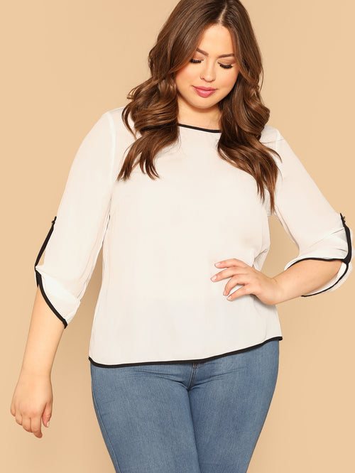 White Plus Size Roll Up Sleeve Blouse