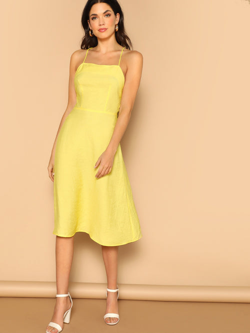 Yellow Lace-up Open Back Flare Sleeveless Cami Maxi Dress