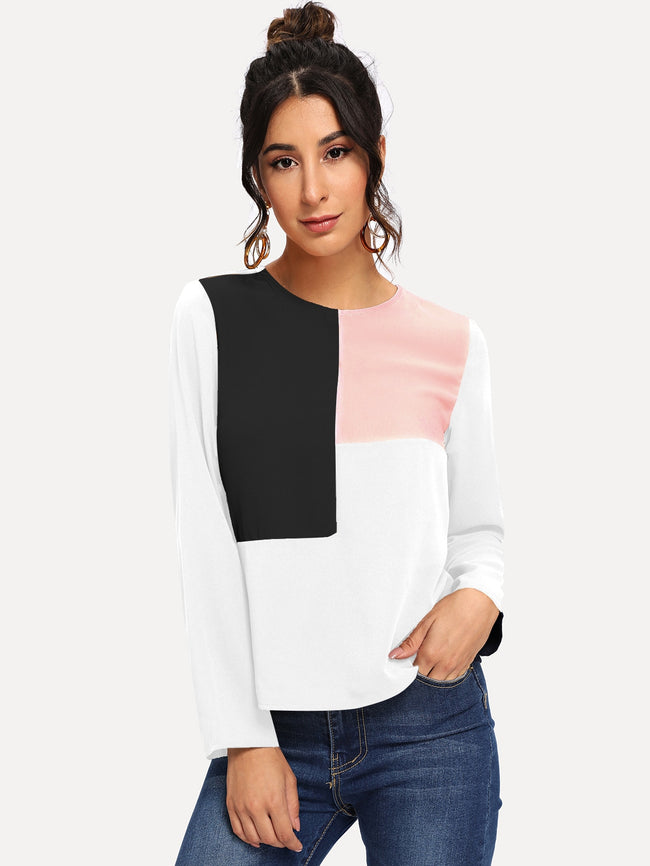 Colorblock CasualTunic Blouse