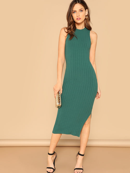 Green Split Side Rib-knit  Bodycon Dress