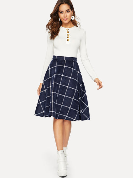 Navy Casual Flared Midi Print Skirt