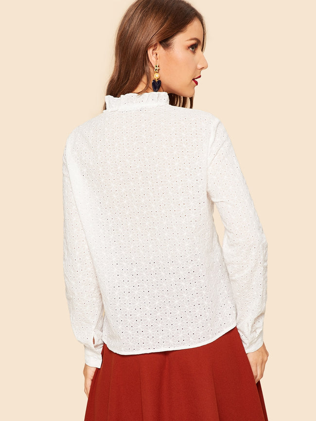White Long Sleeve Eyelet Embroideri Blouse