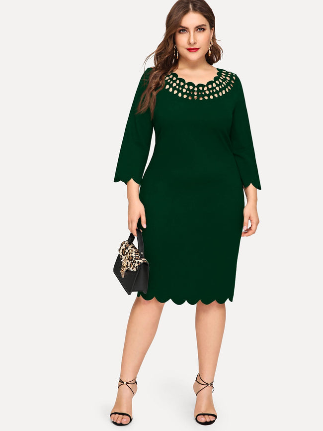 Plus Size Scallop Pencil Dress