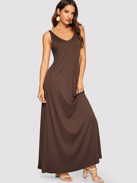 Double V-neck Maxi A-Line Dress