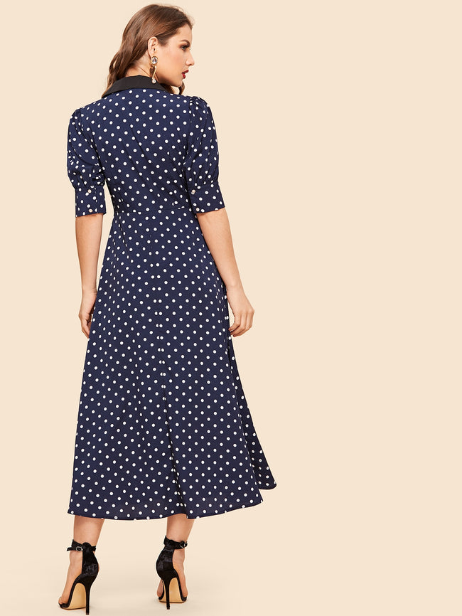 Navy Polka Dot Half Placket A-Line Dress
