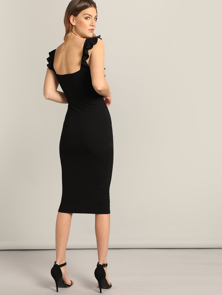 Black Elegant Single Breasted Ruffle Trim Bodycon Dress