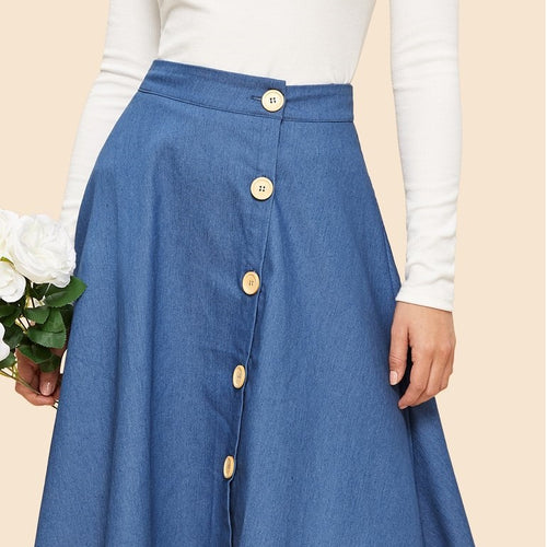 Denim Button Up Circle  A-Line Skirt