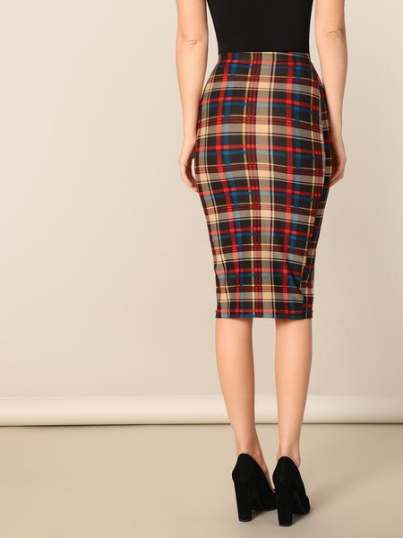 Multi color Spring Plaid Bodycon Skirt