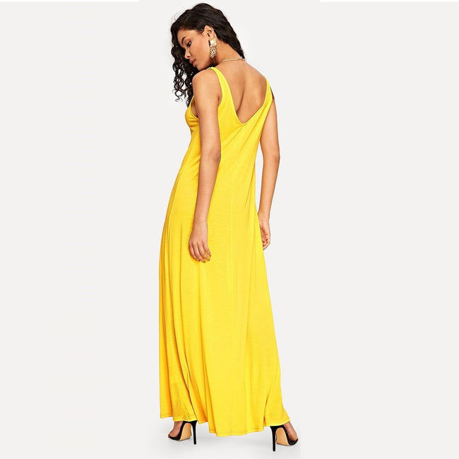 Yellow Solid V-Back Tank Fun Maxi Dress
