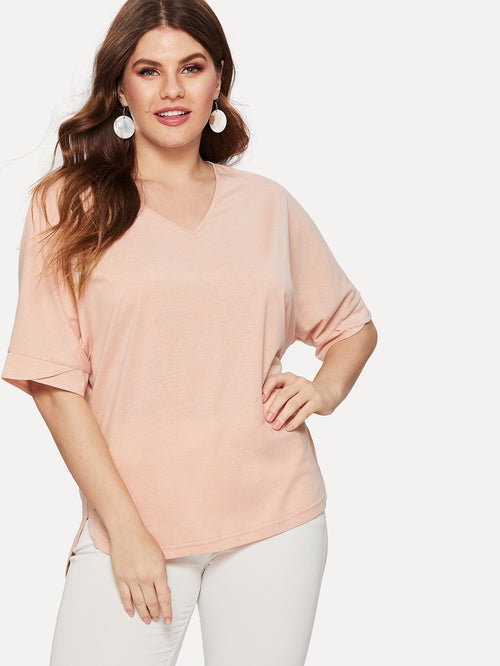 Pink Plus Size V Neck Blouse