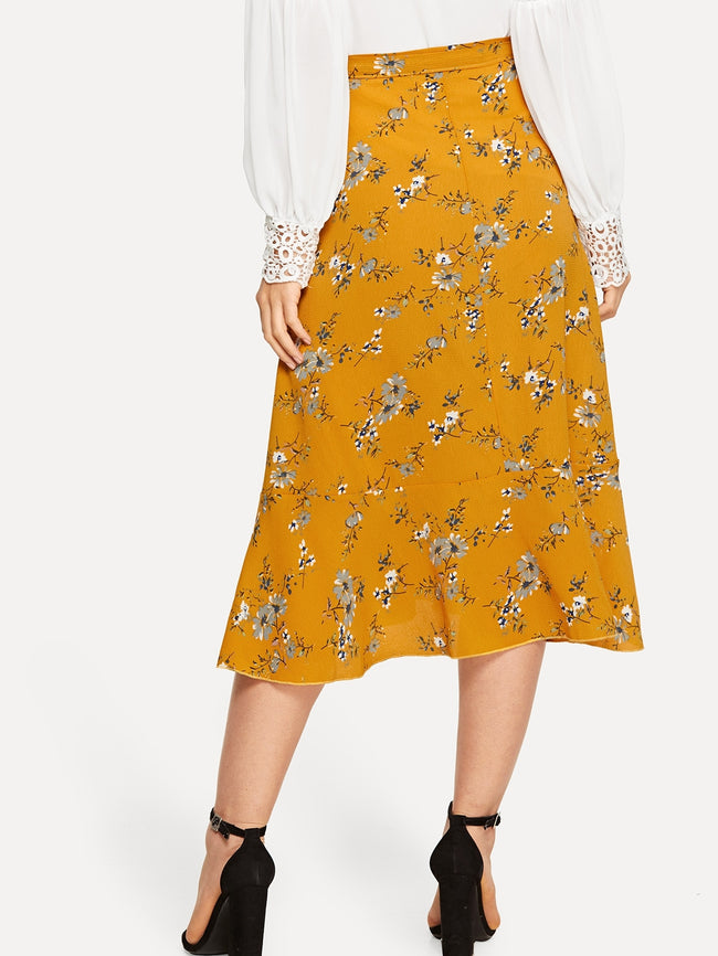 Ginger Asymmetrical Floral Print Wrap Skirt
