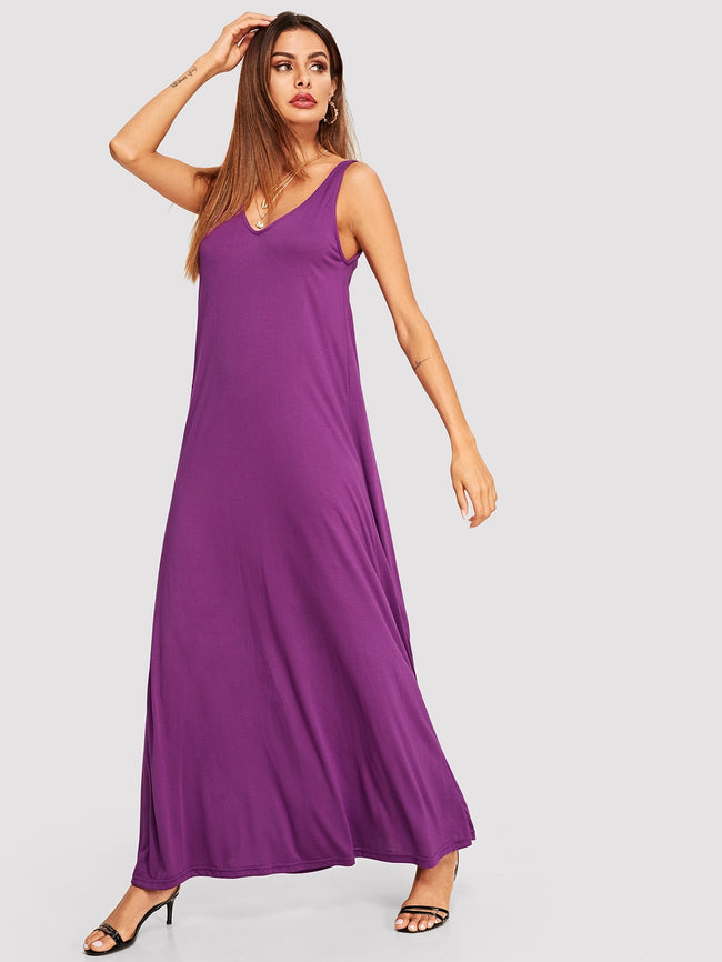 Purple, Pastel Double Scoop Neck  Tank Maxi Dress
