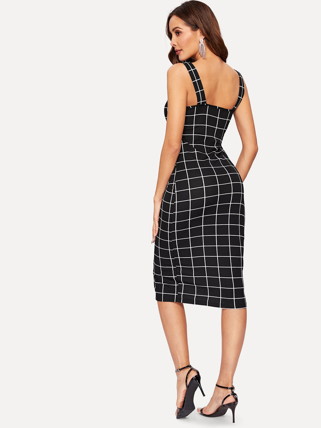 Black Thick Strap Grid Pencil Dress