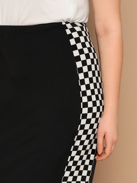 Black Plus Size Checked Panel Pencil Skirt