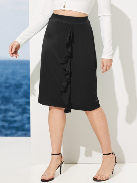 Black Plus Size Ruffle Zip Back A-Line Skirt