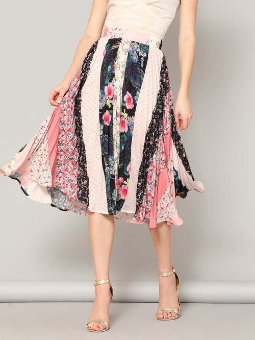 Multicolor Wide Waist Mixed Print Midi Skirt