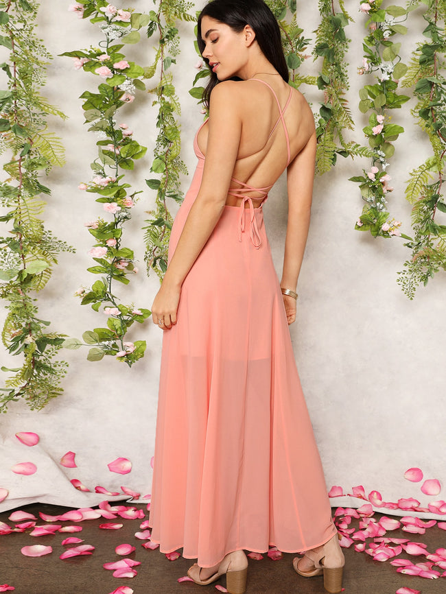 Lace Up Backless Fit & Flare Slip Long A-Line Dress Maxi Dress
