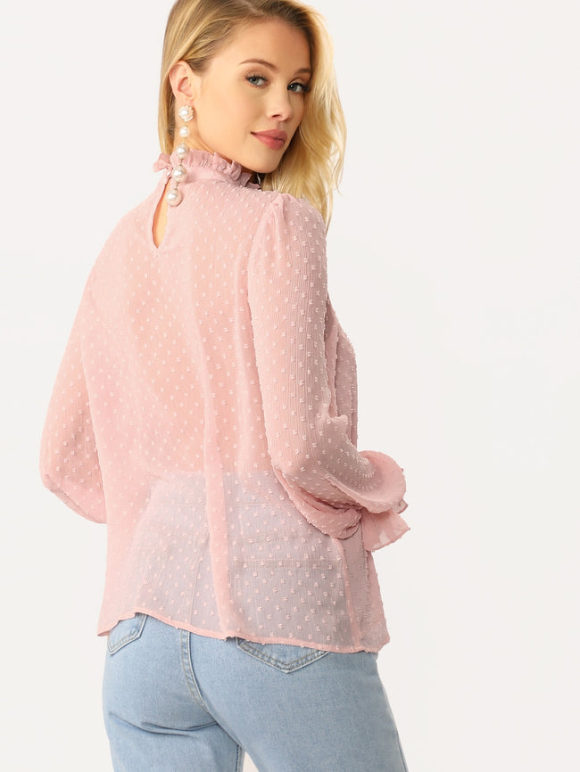 Pink Pastel Buttoned Dot Regular Fit Blouse