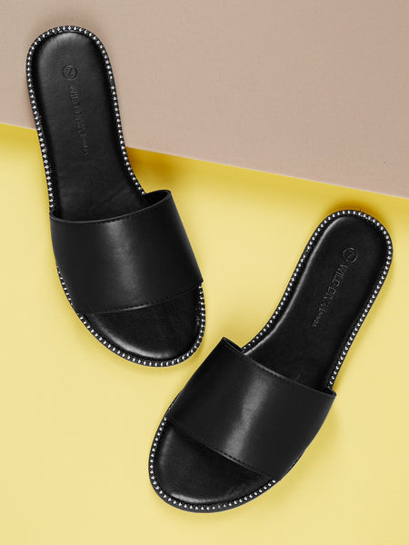 Stud Accents Wide Band Slip On Mule Sandals