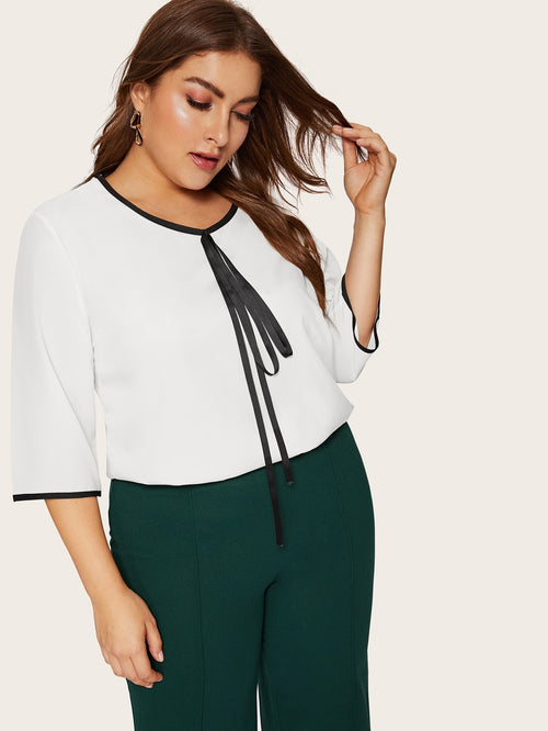 White Plus Size Casual Contrast Blouse