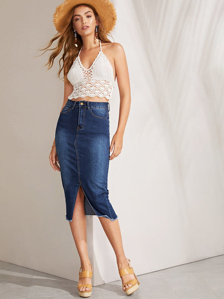 5-pocket Slit Hem Frayed Trim Denim Skirt
