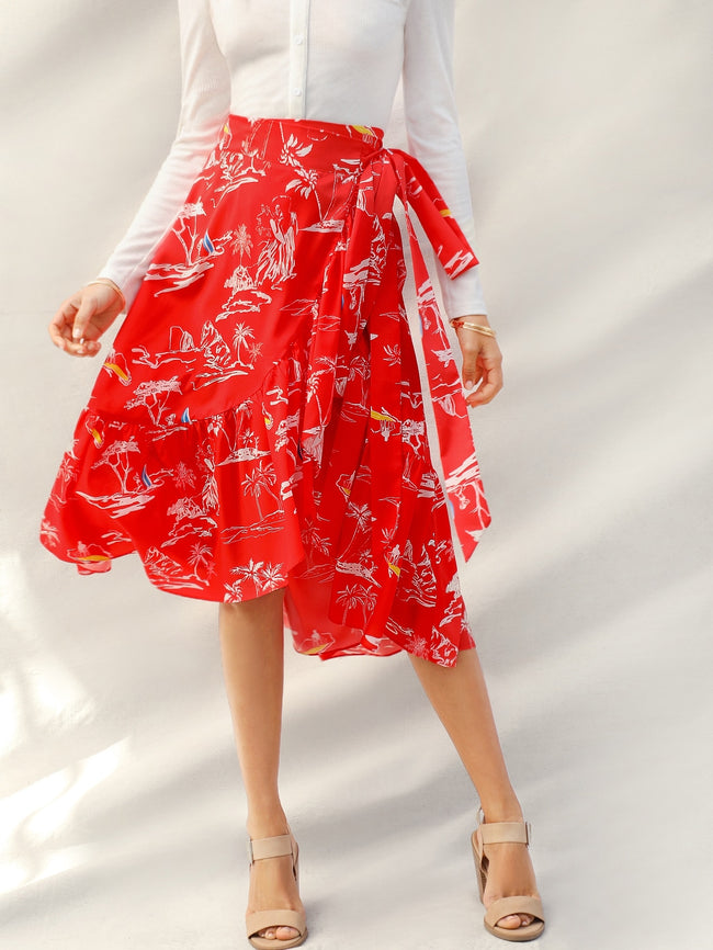 Red Bright Tie Side Flounce Hem Wrap Skirt A-Line Skirt