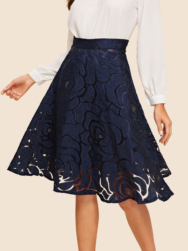 Blue Classic Velvet Midi sheath Skirt