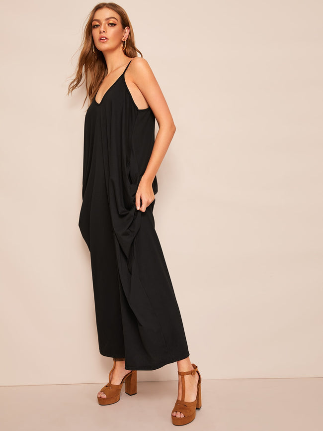 Black Pocket Side Draped Cami Sleeveless Maxi Dress