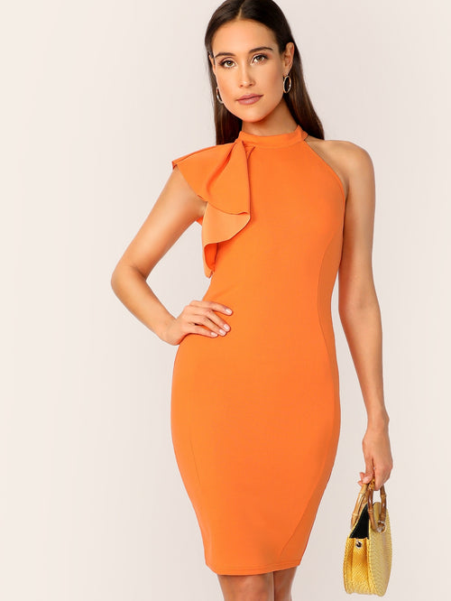 Orange, Bright Sleeveless Zip Back Ruffle One Side Bodycon Dress