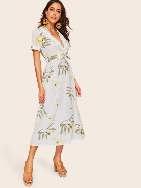 White Print V-Neck Belted  Midi A-Line Dress