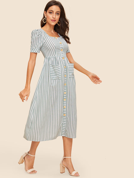 Blue & White stripe Button Up Pocket Midi A-Line Dress