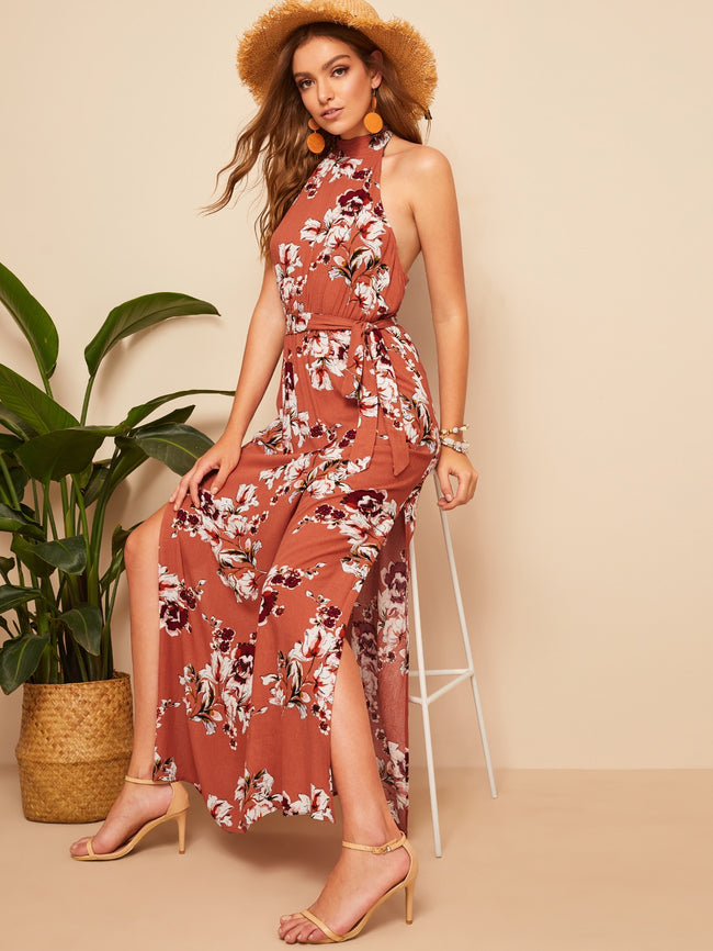Brown Open Back Slit Side Floral Maxi Dress