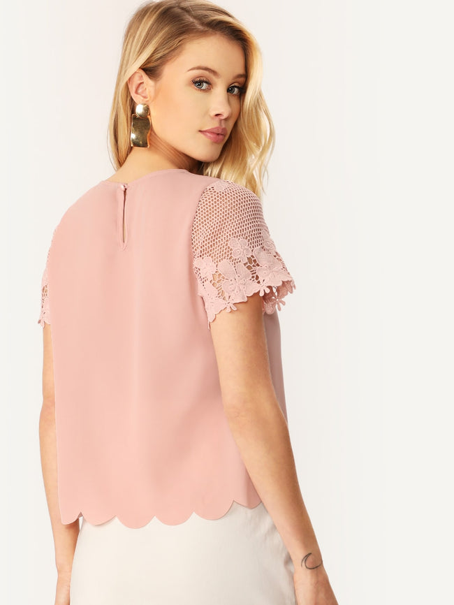 Pink Round Neck Contrast Lace Blouse