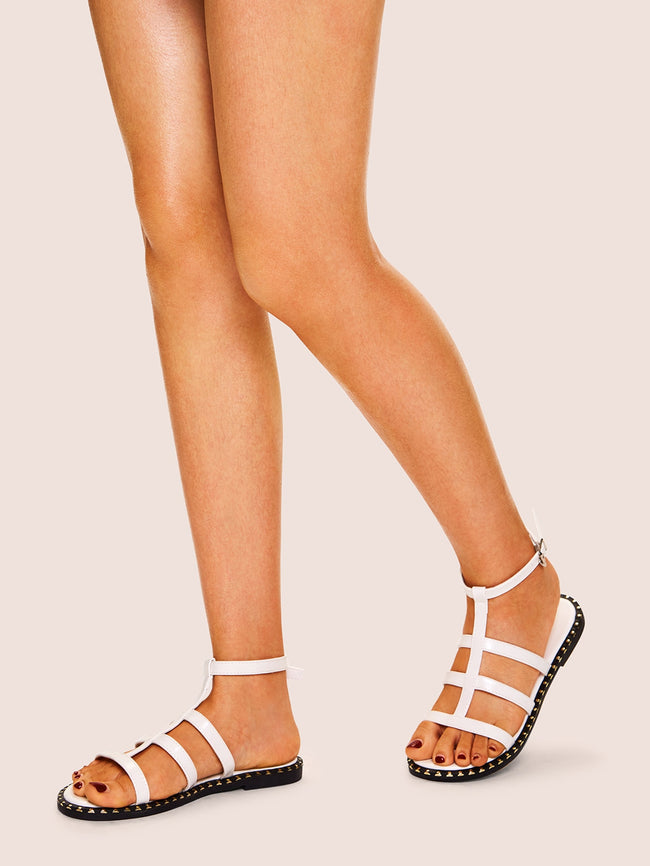 Cut-out Decorated Flat Sandals